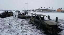 Cars were burned out in Tallaght on Friday, during a night of unrest that led to gardaí being ferried in by the Defence Forces