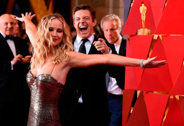 US actress Jennifer Lawrence arrives for the 90th Annual Academy Awards on March 4, 2018, in Hollywood, California. / AFP PHOTO / ANGELA WEISSANGELA WEISS/AFP/Getty Images