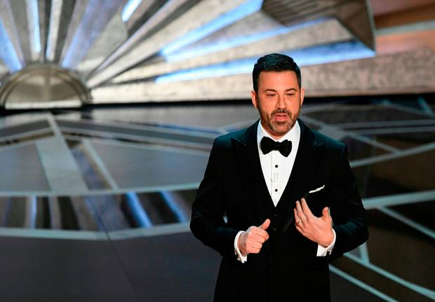 Comedian Jimmy Kimmel delivers a speech during the opening of the 90th Annual Academy Awards show on March 4, 2018 in Hollywood, California. / AFP PHOTO / Mark RalstonMARK RALSTON/AFP/Getty Images