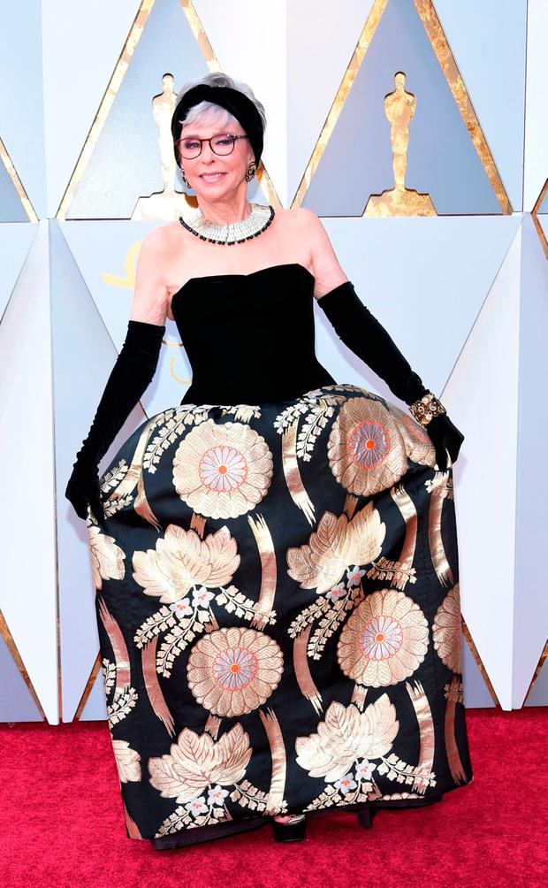 Actress Rita Moreno arrives for the 90th Annual Academy Awards on March 4, 2018, in Hollywood, California. / AFP PHOTO / VALERIE MACONVALERIE MACON/AFP/Getty Images