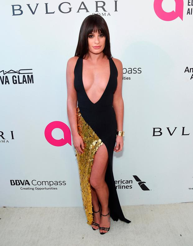 Lea Michele attends the 26th annual Elton John AIDS Foundation Academy Awards Viewing Party sponsored by Bulgari, celebrating EJAF and the 90th Academy Awards at The City of West Hollywood Park on March 4, 2018 in West Hollywood, California. (Photo by Jamie McCarthy/Getty Images for EJAF)