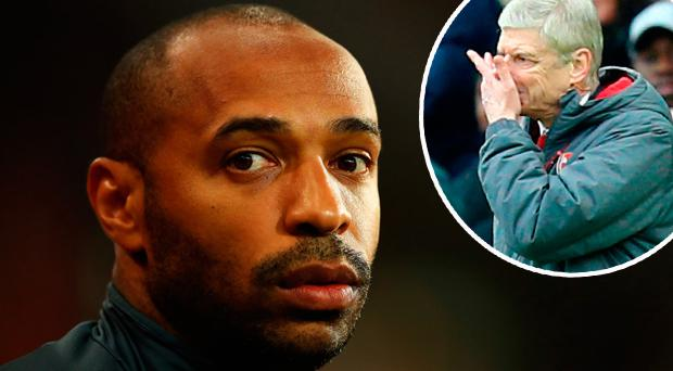 Thierry Henry and (inset) Arsene Wenger