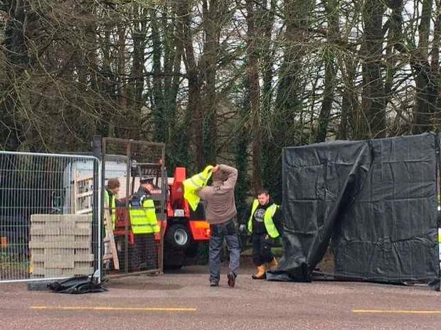 Teams set up area to begin search connected to investigation of missing woman Tina Satchwell