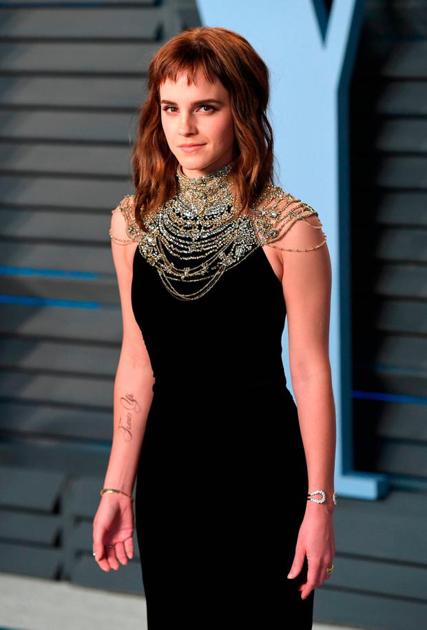 Emma Watson arriving at the Vanity Fair Oscar Party held in Beverly Hills, Los Angeles, USA. Credit: PA Wire
