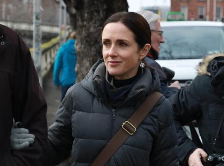 Maia Dunphy, pictured leaving the Four Courts after giving evidence in a District Court hearing.Pic: Collins Courts
