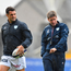 21 October 2017; Dan Carter of Racing 92, left, and Racing 92 defence coach Ronan O'Gara prior to the European Rugby Champions Cup Pool 4 Round 2 match between Munster and Racing 92 at Thomond Park in Limerick. Photo by Brendan Moran/Sportsfile