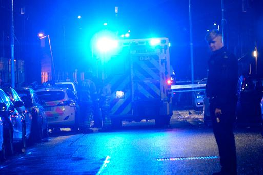 The scene of a shooting at Sheriff Street Dublin tonight. Pic: Justin Farrelly.
