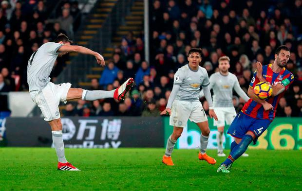 Nemanja Matic fires Manchester United's late winner. Photo: Catherine Ivill/Getty Images