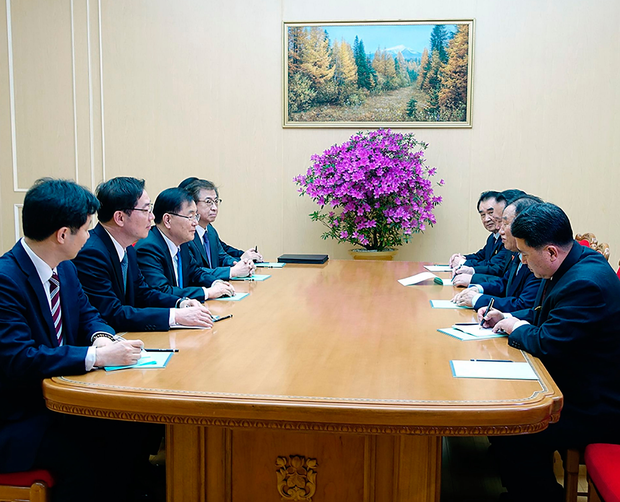 The delegation in Pyongyang. Photo: Getty Images