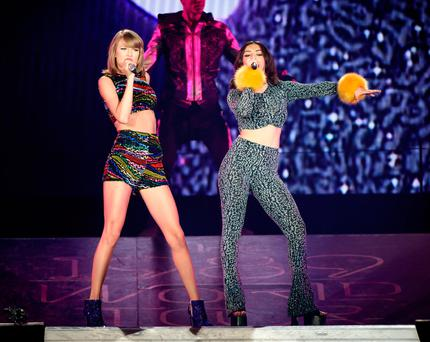 Taylor Swift and special guest Charli XCX perform onstage during The 1989 World Tour Live In Toronto - Night 2 at Rogers Center on October 3, 2015 in Toronto, Canada. (Photo by George Pimentel/LP5/Getty Images for TAS)