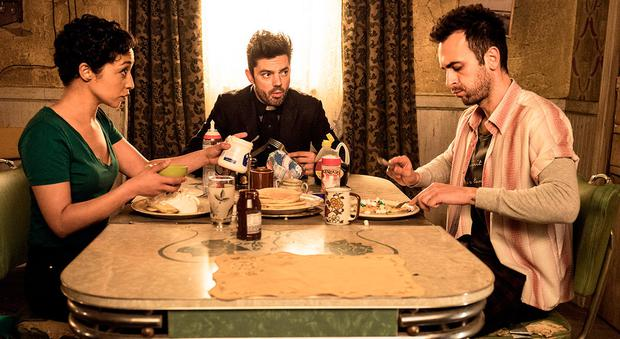 Ruth Negga with Dominic Cooper and Joseph Gilgun in AMC's Preacher