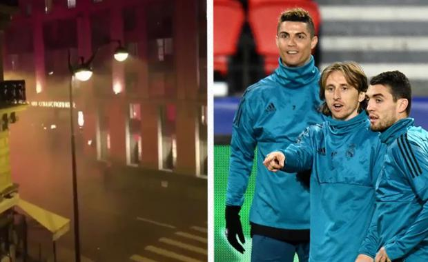 A number of PSG fans attempted to wake sleeping Real Madrid players in the early hours of Tuesday morning
