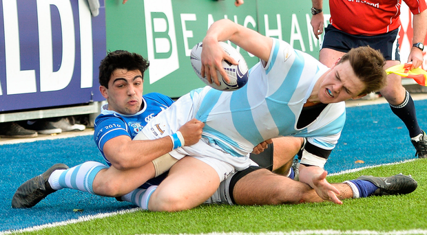 Blackrock College's Liam McMahon is tackled by St Mary's Harry McSweeney during Leinster Schools Senior Cup semi-final at Donnybrook yesterday. Photo: Sportsfile