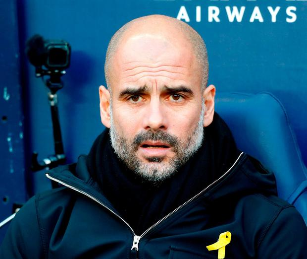 Pep Guardiola. Photo: Martin Rickett/PA Wire