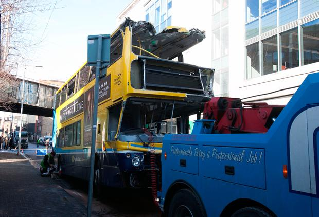 The Dublin bus which was involved in a crash at the junction of Shaw Street and Townsend Street early yesterday. Photo: Gareth Chaney/Collins