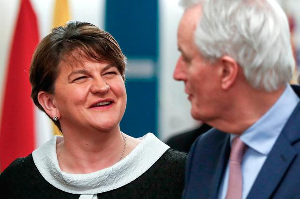 Democratic Unionist Party leader Arlene Foster meets with the European Union's chief Brexit negotiator Michel Barnier at the EC headquarters in Brussels. Photo: Yves Herman