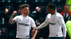 Preston North End's Sean Maguire (left) celebrates scoring his side's second goal