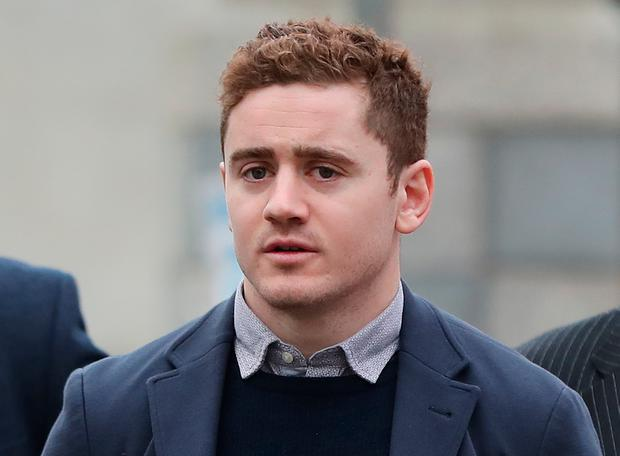 Ireland and Ulster rugby player Paddy Jackson arrives at Belfast Crown Court where he and his teammate Stuart Olding are on trial accused of raping a woman at a property in south Belfast in June 2016. Photo: Niall Carson/PA Wire