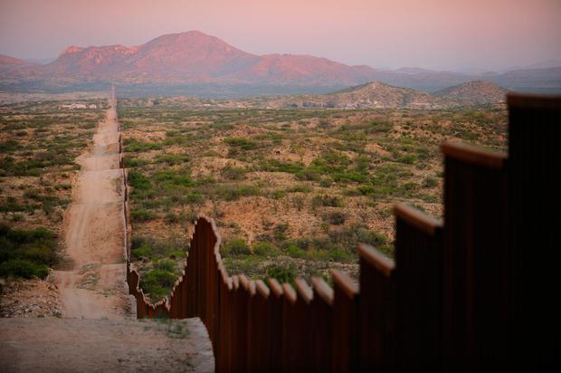 A new section of the fence that has recently been erected on the border between Mexico and the U.S.A. near the town of Sasabe, Arizona.