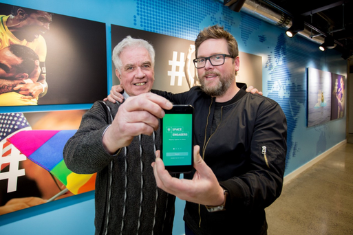 Fr Peter McVerry and Twitter Co-Founder Biz Stone at the launch of the Space Engagers Reusing Dublin app at Twitter EMEA Headquarters in Dublin
