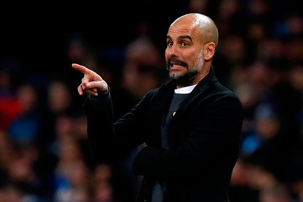 Soccer Football - Champions League Round of 16 Second Leg - Manchester City vs FC Basel - Etihad Stadium, Manchester, Britain - March 7, 2018 Manchester City manager Pep Guardiola gestures Action Images via Reuters/Jason Cairnduff