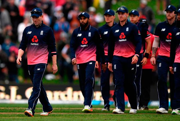England captain Eoin Morgan and his team leave the field Photo: Stu Forster/Getty Images
