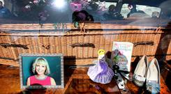 Mementoes of Emma Hannigan at the funeral. Photo: Steve Humphreys