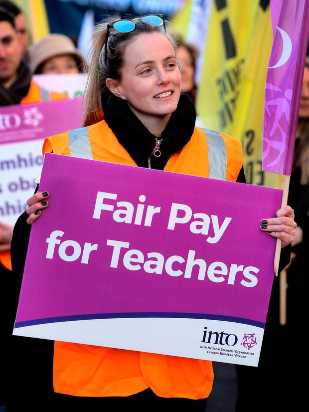 Teacher Nikki Good, from Our Lady Immaculate Junior School in Darndale, Dublin, at the Dáil protest. Photo: Steve Humphreys