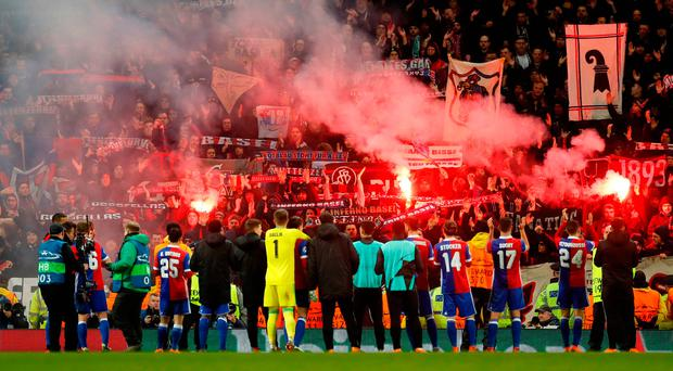 FC Basel players with their fans after the match