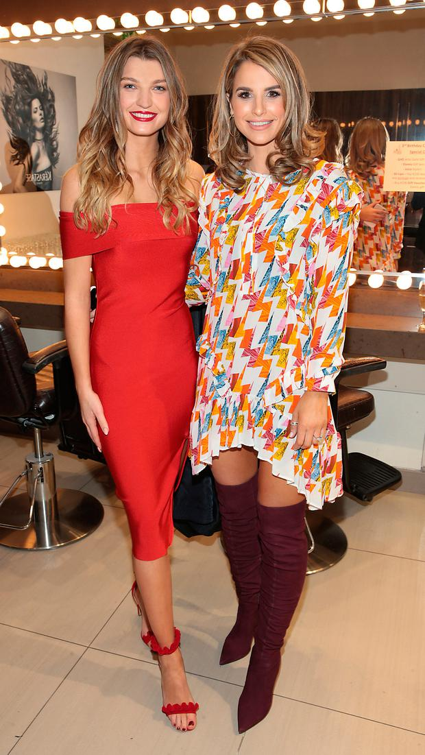Alannah Beirne with Vogue Williams at the third birthday of Elle No. 5 Beauty Emporium in Celbridge, Co Kildare. Picture: Brian McEvoy