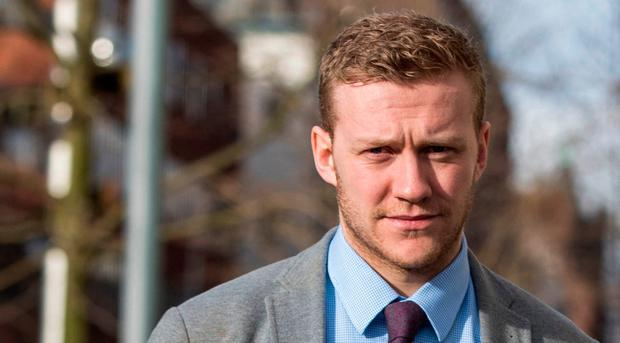 Ireland and Ulster rugby player Stuart Olding arrives at Belfast Crown Court on Thursday. Photo: Liam McBurney/PA Wire