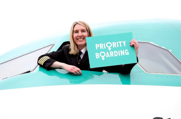Aer Lingus is offering priority boarding to all women flying to the UK and Europe, from Irish airports. Pictured: Aer Lingus Caption Kelly Dolan