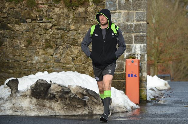 6 March 2018; Jack Conan makes his way to Ireland Rugby squad training at Carton House in Maynooth, Co Kildare. Photo by Matt Browne/Sportsfile