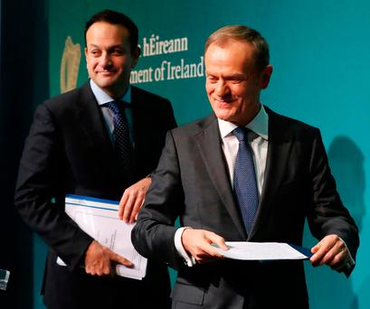 Taoiseach Leo Varadkar and EU Council president Donald Tusk hold a press conference at Government Buildings in Dublin. Credit Niall Carson  PA Wire