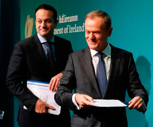 Taoiseach Leo Varadkar (left) and EU Council president Donald Tusk hold a press conference at Government Buildings in Dublin. Credit: Niall Carson/PA Wire