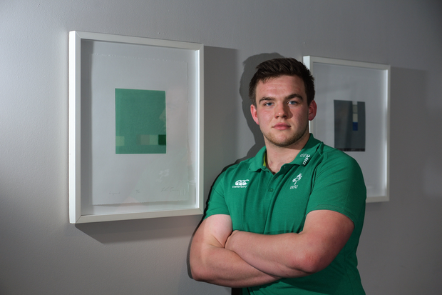 5 March 2018; James French poses for a portrait after an Ireland Under 20 Rugby press conference at the Sandymount Hotel in Dublin. Photo by Piaras Ó Mídheach/Sportsfile