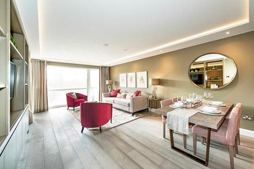 The living area in the two-bed homes at Ardilea Crescent feature decorative ceilings and underfloor heating