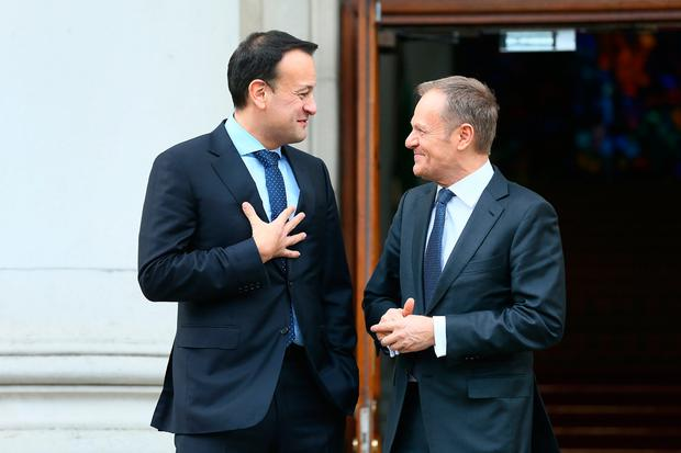 Leo Varadkar with European Council President Donald Tusk at Government Buildings. Photo: Frank McGrath
