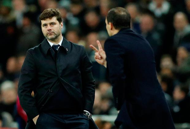 Soccer Football - Champions League Round of 16 Second Leg - Tottenham Hotspur vs Juventus - Wembley Stadium, London, Britain - March 7, 2018 Tottenham manager Mauricio Pochettino and Juventus coach Massimiliano Allegri. Action Images via Reuters/John Sibley