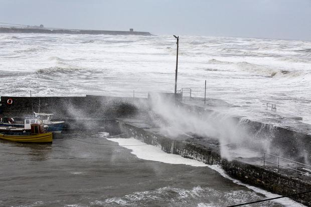 Rush harbour in North Co Dublin during Storm Emma. Photo: Mark Condren