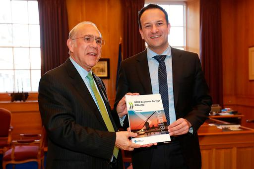 Taoiseach Leo Varadkar pictured with Angel Gurría, Secretary General of the OECD in the Taoiseachs office where they discussed the OECD's latest economic survey of Ireland. Photo: Frank McGrath