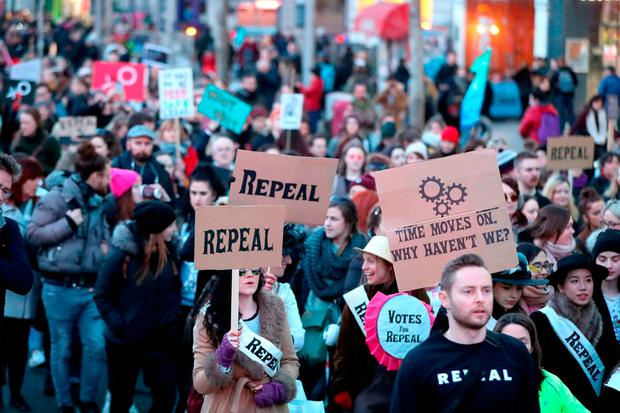People march through Dublin calling for the repeal of the Eighth. Photo: PA