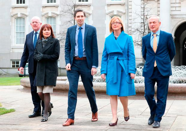 (left to right) Government ministers, Charlie Flanagan, Josepha Madigan, Simon Harris, Regina Doherty and Richard Bruton, arrive to address the media at Government Buildings in Dublin, after the the Cabinet met to discuss the next steps in the abortion referendum process. Photo: PA
