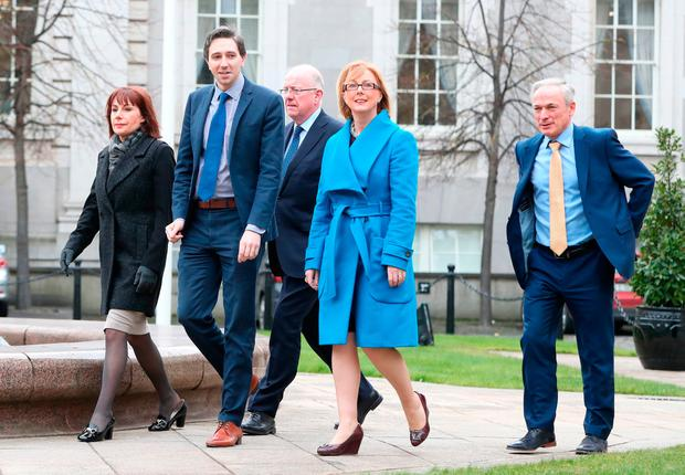 (left to right) Government ministers, Josepha Madigan, Simon Harris, Charlie Flanagan, Regina Doherty and Richard Bruton arrive to address the media at Government Buildings in Dublin, after the the Cabinet met to discuss the next steps in the abortion referendum process. Photo: PA
