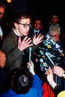 In the spotlight: Woody Allen addresses the media in 1992, in the wake of the abuse allegations