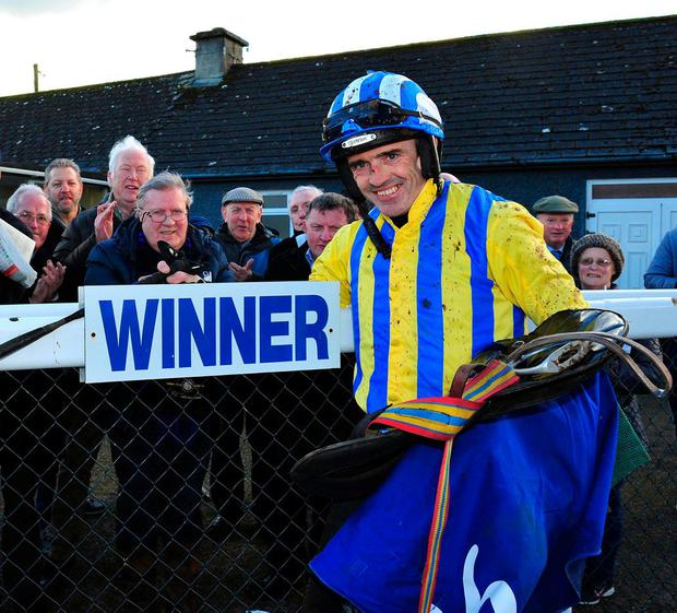 Ruby Walsh takes the acclaim from the Thurles crowd after victory aboard Lareena. Photo: Healy Racing