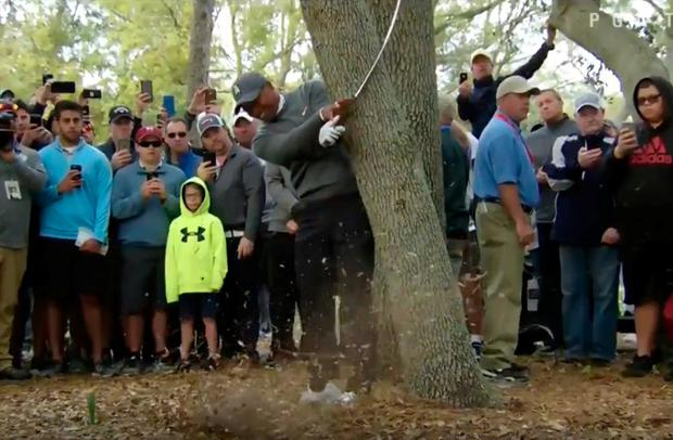 Woods taking his shot from near the trees