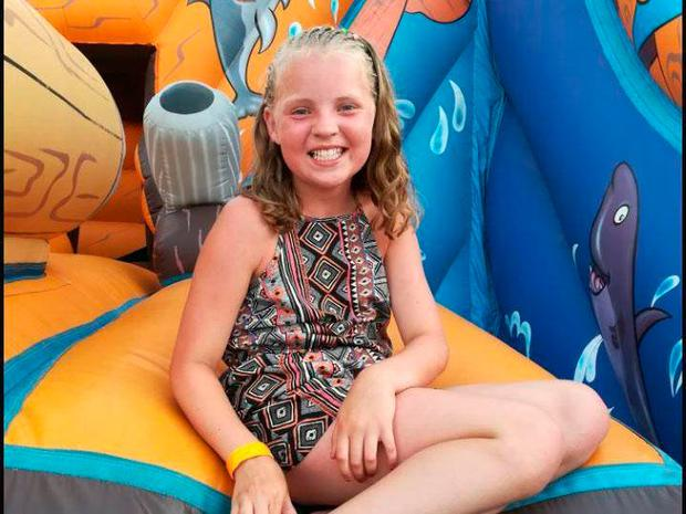 Amelia Wood was walking along the pavement in Manby, Lincolnshire, when a Land Rover came towards her at 8am on Tuesday.