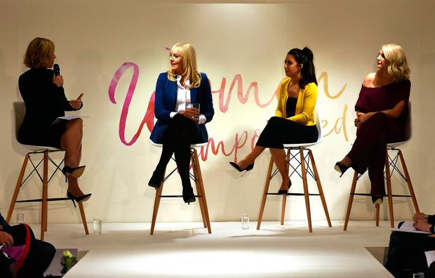 (L to R) Kathryn Thomas, Miriam O'Callaghan, Lottie Ryan, Yvonne Connolly speak at the Women Empowered event at Arnotts on International Women's Day 2018