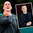 Devin Toner and (inset) Liam Neeson